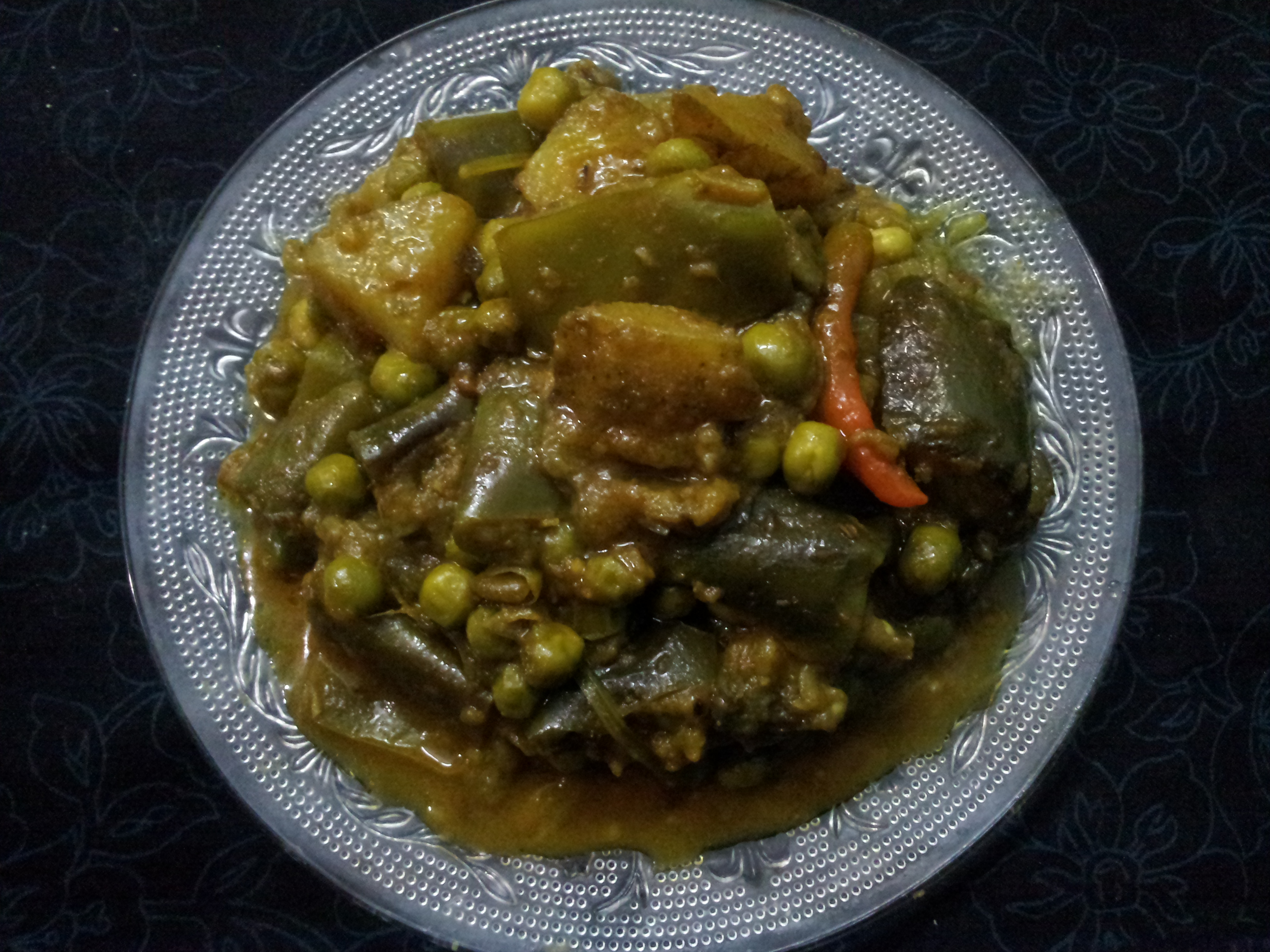 Delicious Side Dish  –  Eggplant Peas Curry/Begun Karaishuntir Torkari