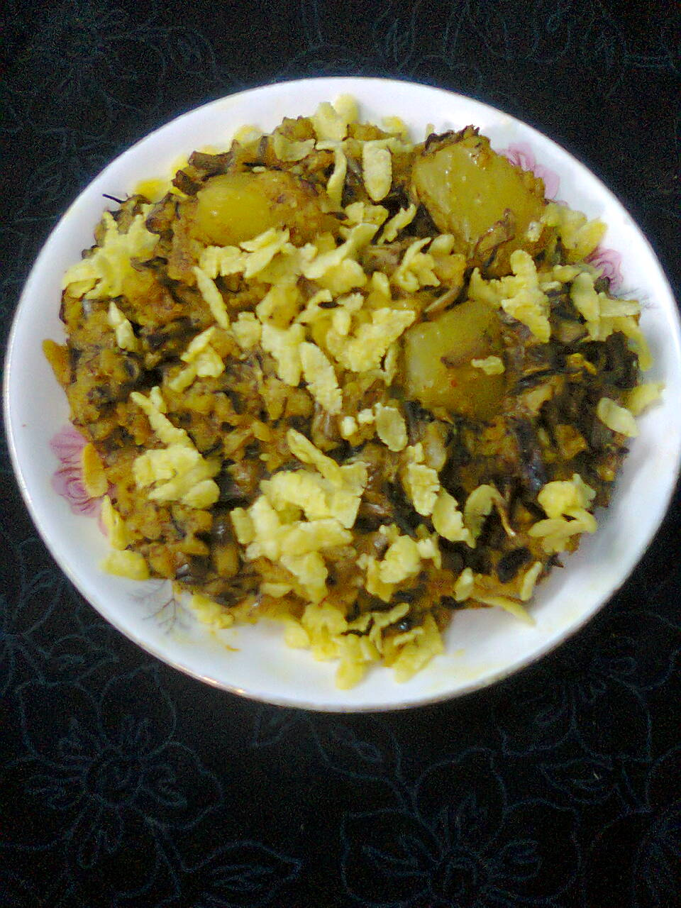 Veg. Side Dish – Banana Flowers With Flattened Rice/Mocha–Chirer Ghanto